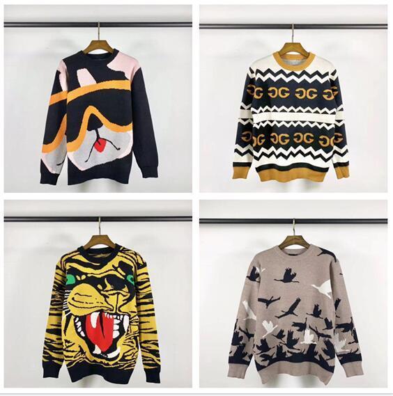 2019 моды дизайнер мужской одежды бренд пальто монограммы печать лоскутный цвета сеть внутри улица свитер # 0106