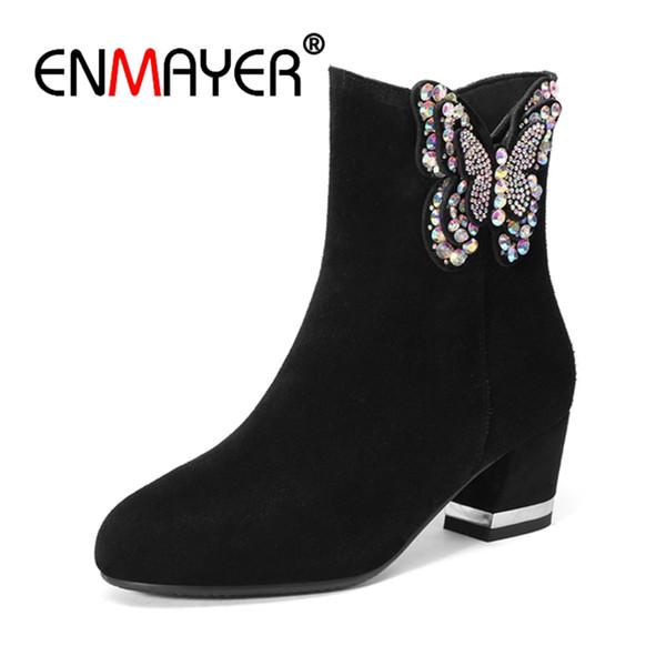 ENMAYER Mulheres Ankle Boots Tamanho Grande 33-43 Causal Salto Alto Saltos Grossos Moda Botas Dedo Do Pé Redondo Flock Rhinestone Sapatos Zip CR1289