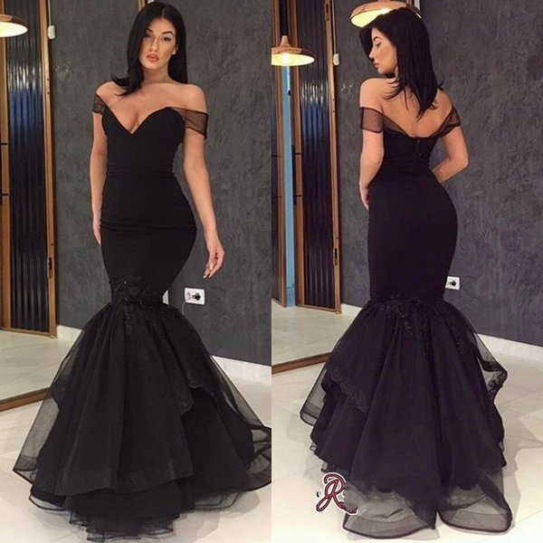Formal Black Evening Dresses from China Off the Shoulder Short Sleeve Backless 2019 Prom Dress Party Wear yousef aljasmi