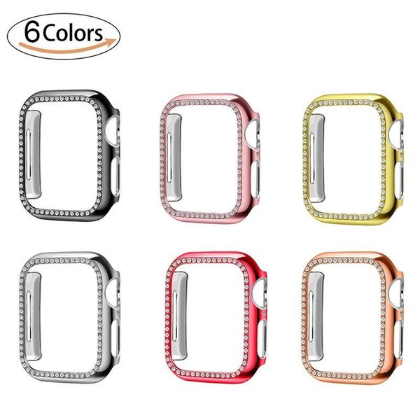 PC Watch Cover Luxury Bling Crystal Diamond Cover for Apple Watch Case for iWatch Series 4 3 2 1 Case 42mm 38mm Band