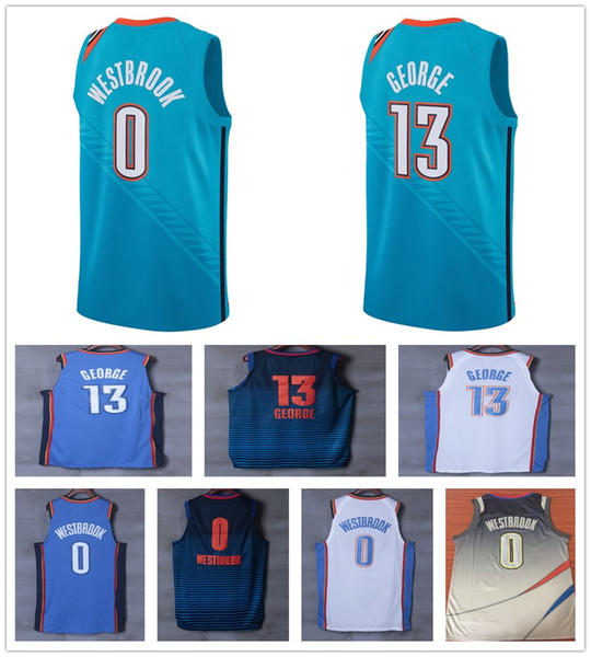 new product 832ac 02a9d 2019 New City Edition Turquoise Green 0 Russell Westbrook Jerseys Blue  Orange White 13 Paul George Jersey Stitched Shirt Sportswear From ...