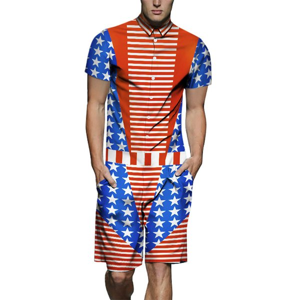 Mens Summer 19SS Fashion Tracksuits One Piece USA Flag Designer Shirts 3D Printed Cargo Sets Shorts Casual Outfits
