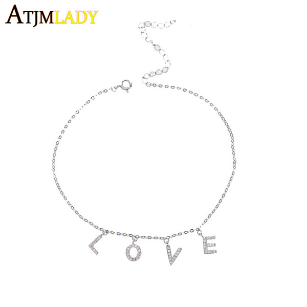 925 sterling silver Foot Jewelry Anklet For Women Girls Leg Chain Charm letter love heart anklet Fashion summer Beach Jewelry