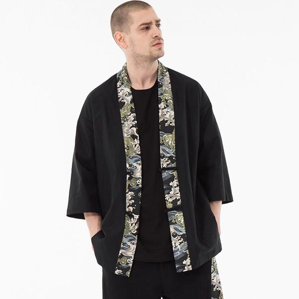 Kimono Hommes Noir Kimono Japonais Hommes Samurai Costume Homme Yukata Haori Japonais Streetwear Vêtements Pour Hommes Veste DD001