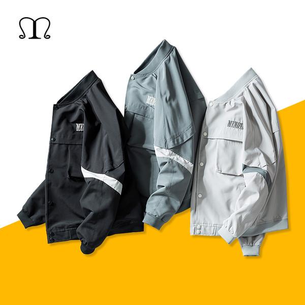 Spring Baseball Jacket for Men Button Bomber Jacket Coats Casual Men's Jackets Windbreakers Loose Coat Street Hip-Hop Clothes