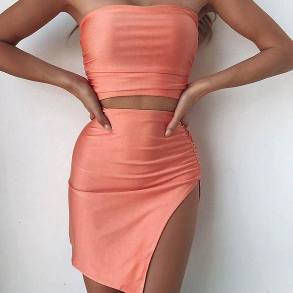 Las mujeres atractivas de dos piezas del sistema de cultivos Tops color sólido + mini falda de las mujeres de dos piezas Conjunto 2019 Ropa Damas Clubwear Mujeres equipos del partido