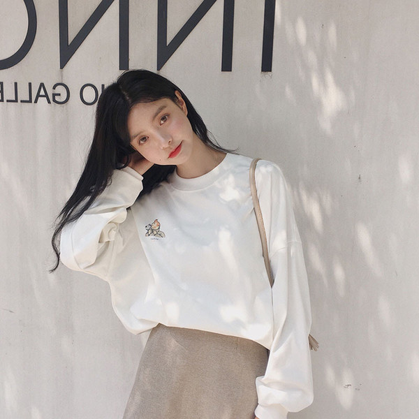 Net Red with The Autumn Original Wind Wei Yi 2018 New Women's Long Sleeve Korean Version of Loose Printing Strange Girl's Coat