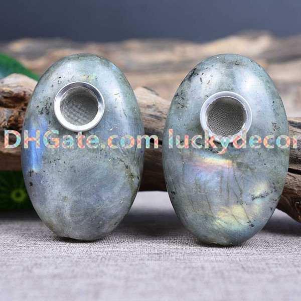 10pcs Tumbled Natural Light Flash Gray Labradorite Crystal Earth Gem Pipe Oval Spectrolite Palm Pocket Stone Smoking Pipe Ceremonial Pipe