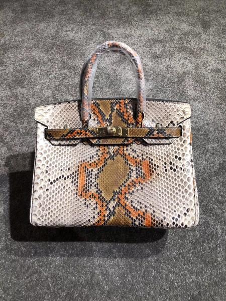 Designer- BK 100% Python sacs à main en peau 7A meilleure qualité célèbre designer femmes véritable sac à bandoulière en cuir impression fourre-tout sac 30cm