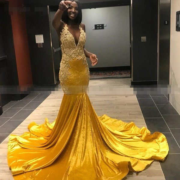Luxury Beads Crystal Yellow Satin African Prom Dress Sexy V-Neck Long Elegant Plus Size Black Girl Graduation Gala Dresses 2019
