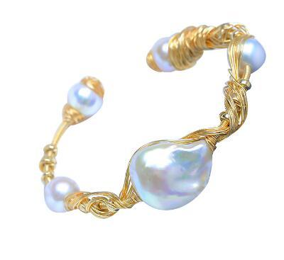 white baroque multi-wire wrapping 5 pearls special bracelets bangles Luxurious fashion jewelry for dating /gift HK