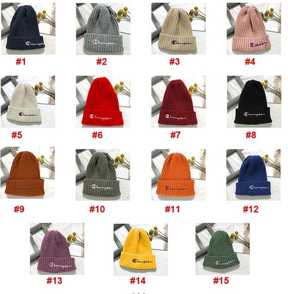Adult Soft Embroidery CH Letter Beanies hats Knitted Caps Fashion Men Women Winter Warm Weave Hat & 15 Colors Free Size