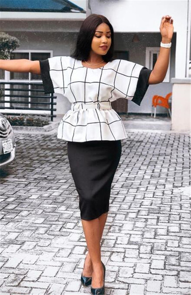 Frauen Pullover Plaid 2 stücke Kleid Sommer Pendeln Kurzarm Anzüge Frauen Mode Lässig Zweiteilige Kleidung