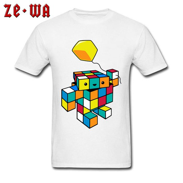 Rubik's Cube Balloon T Shirt Men's T-shirt Funky Geometric Tshirt Design Funny Cartoon Tops Robot Lover Gift Clothes Cotton