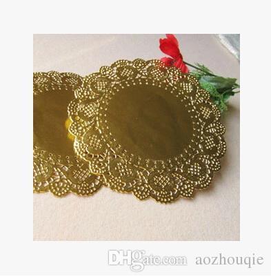 Vente en gros New Hot vente 165mm or papier rond dentelle nappes napperon artisanat de mariage de Noël vaisselle Décoration