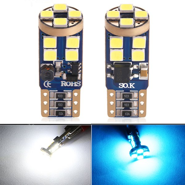10Pcs/Lot T10 W5W 194 LED Car Bulb 12LED 3030SMD Canbus Auto Side Marker Reading License Plate Interior Parking Light 6000K White Ice Blue