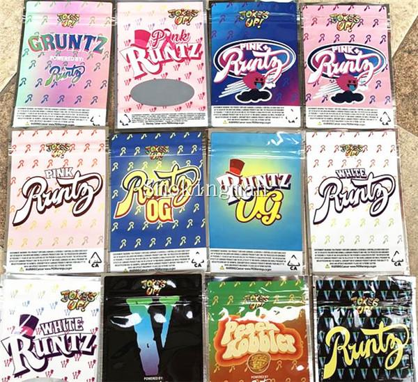Шутка вверх! Белый Runtz Pink Runtz OG V Gruntz Pink + Runts Персиковый коблер Runty Pink Runtz Ziplock Сумки для хранения сухих трав Цветы
