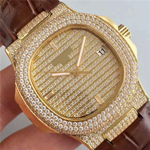 DM Luxury Watch Casual diamond watch Swiss 324 Automatic Movement 18k Gold Case Full Diamond Dial Sapphire Crystal Transparent case back