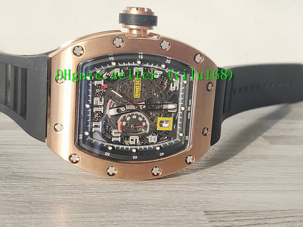 Best Selling luxury RM 030 Skeleton Big Date Dial Miyota Automatic RM030 Mens Watch 50x40 rose gold black Rubber Strap Sport Watches mecha