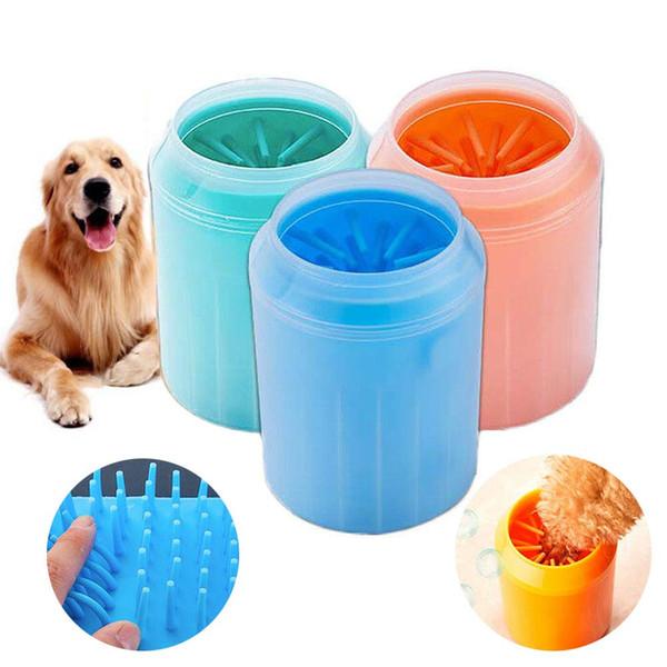 Pulitore della zampa del cane Pulitore della zampa dell'animale domestico Lavatore della zampa del cane Pulitore dei piedi del cane Tazza di pulizia di lavaggio della spazzola con la setola molle del silicone