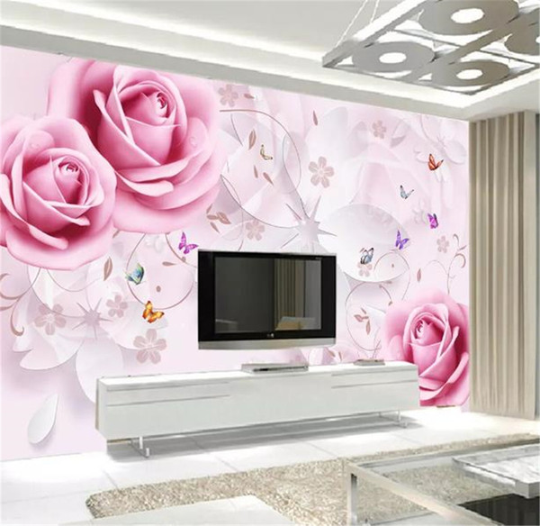 Custom Any Size 3d Wallpaper Rose Three Dimensional Flower Butterfly Flying 3d Tv Background Wall Decoration Mural Wallpaper Full Hd Wallpapers Pc