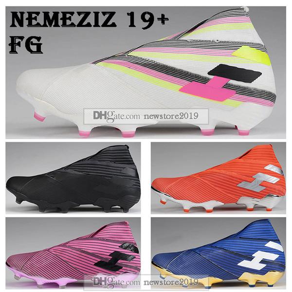 New Mens High Tops Football Boots Nemeziz 19+ Laceless FG Soccer Cleats Nemeziz Messi 19 360 Agility FG Soccer Shoes