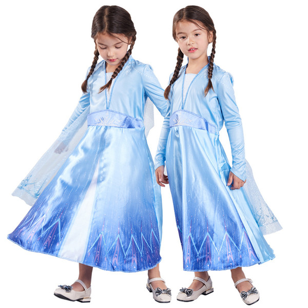 best selling Kids Dress Baby Girls Lace Mesh Cosplay Stage Costume Kids Clothes Snow Queen Winter Gown Halloween Party Show Dresses 06