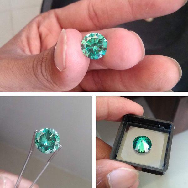 6mm 0.8ct VVS1 Excellent Cut Grade Test Positive Round Cut Green Moissanite EF Color Loose Stones