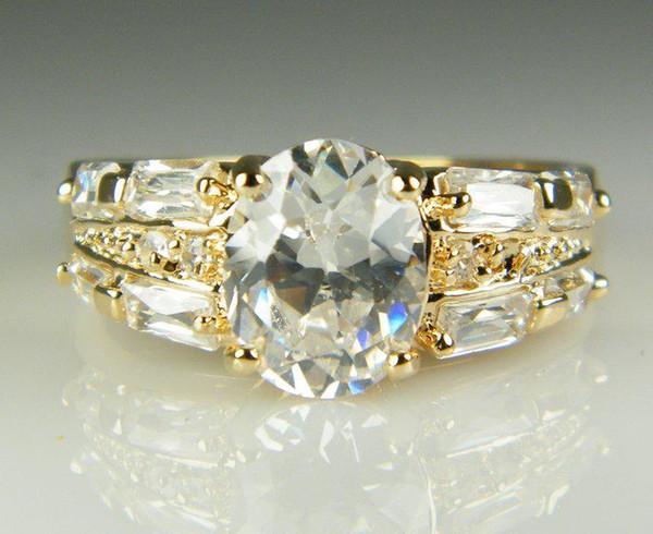 Go888Store Бесплатно 2019 Роскошный 18 К сплошного Желтого золота с покрытием кристалл Циркона, Кольцо с Драгоценными Камнями Золотые обручальные свадьбы влюбленных пара Кольцо Оптовая