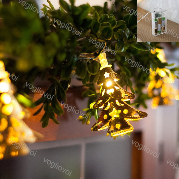 Christmas Lights Golden Tree String Lamp 2m 3m Holiday Party Decorate Iron Flashing Warm White Use Battery 4 5v Led String Dhl Butterfly String Lights