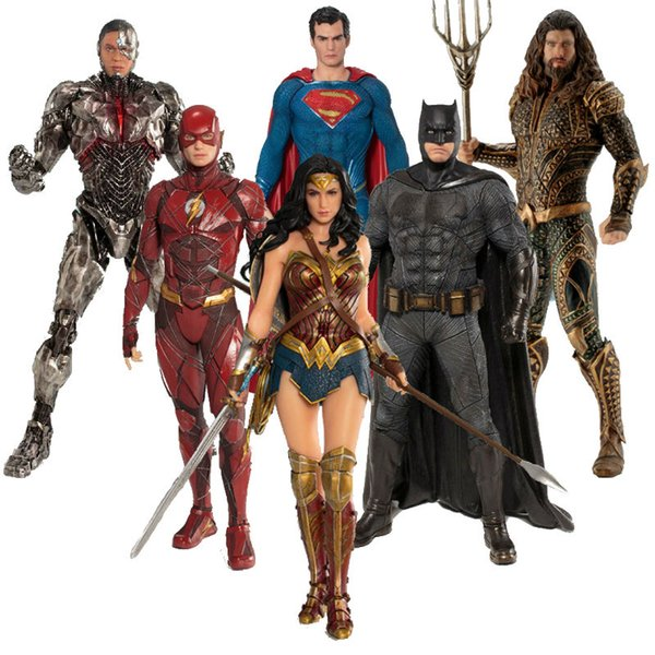 Movie Game DC Justice League The Flash Cyborg Aquaman Wonder Woman Batman Superman Statue ARTFX Action Figures Model Toy Doll