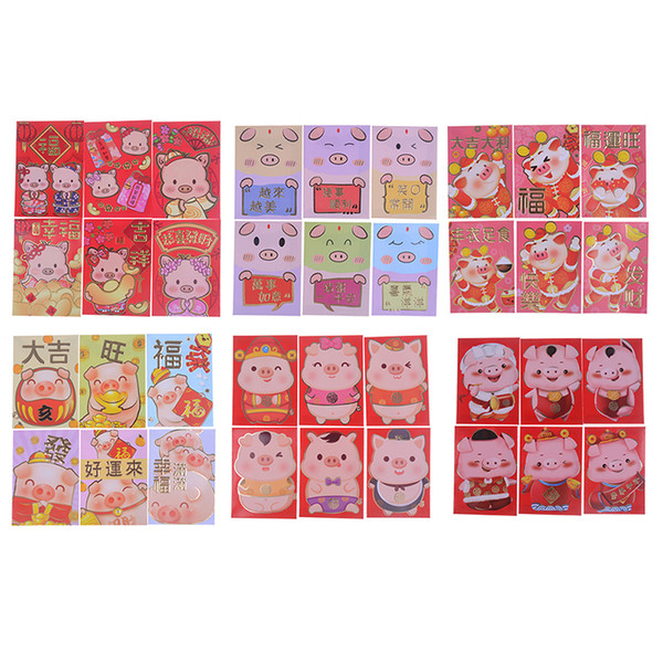 Envelope Storage Escolar Amimal Red Envelope To Fill In Money Chinese Tradition Hongbao New year Red Gift 6pcs/Set