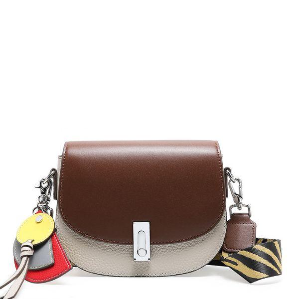 Designer brand fashion saddle handbags cowskin Women Messenger Bag tassels two tone shoulder Bag iphone Purse genuine leather crossbody bags
