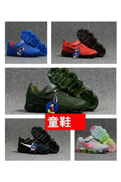 Compre Nike Air Max Airmax Vapormax Niños De Alta Calidad Zapatillas De Deporte Para Niños Zapatillas De Deporte De Los Niños Del Arco Iris Negro