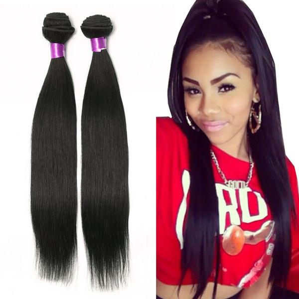 Brazilian Straight Human Hair Extensions Virgin Brazilian Hair Bundles Natural Black Brazilian Virgin Hair Straight Weaves Straight Human Hair Weave