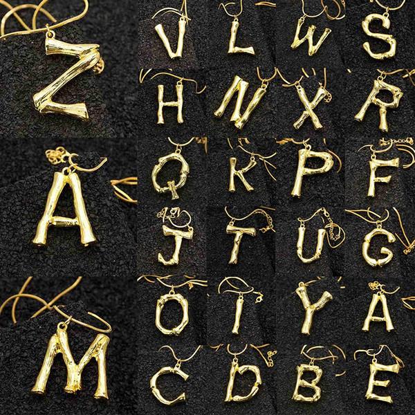 2cm Petit Or Martelé Métal Bambou 26 Lettre Alphabet A-Z Minimaliste Initial Pendentif Collier De Mode Twist Chaîne Cou Bijoux