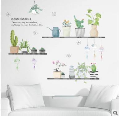 Pastorale fraîche plante en pot stickers muraux salon littéraire dortoir chambre couloir porche peinture autocollante