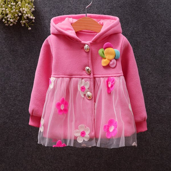 good quality 2019 children outerwear girls hooded flower lace jacket coat baby girls outfit clothing for spring autum