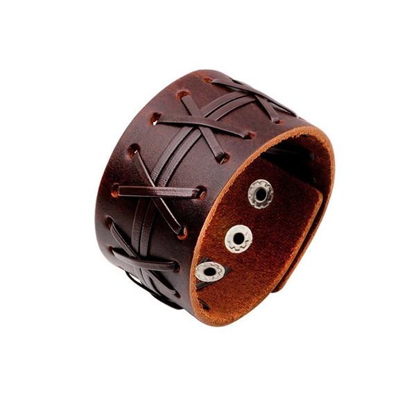 Factory Wholesale American Leather Cuff Handmade Braided Punk Style Mens Genuine Leather Wristband Bangle Cuff Bracelet CMLC126