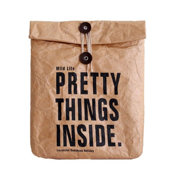 Reusable Brown Paper Lunch Bag Box Sack Durable Insulated Thermal Paper Bag Snack Cooler Picnic Container