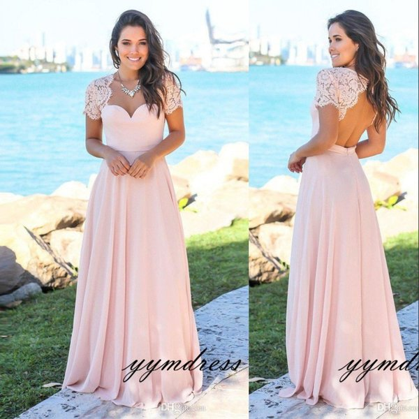 Blush Country Bridesmaid Dresses 2019 Scoop Hollow Back Lace Top Sweep Train Chiffon Beach Garden Wedding Guest Gowns Maid Of Honor Dress