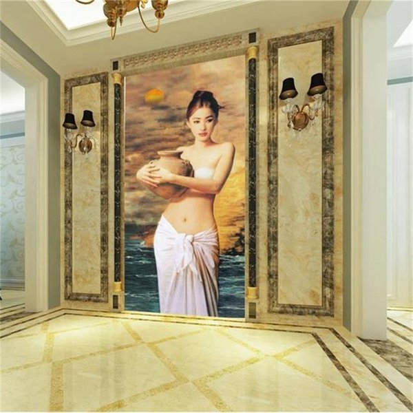 custom size 3d photo wallpaper living room mural girl holding pottery oil painting room porch backdrop wall wallpaper non-woven wall sticker