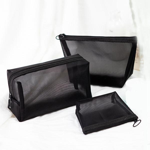 Noir Transparent Cosmétique Sac Portable Voyage Maquillage Cas Fermeture À Glissière Make Up Organizer Pochette De Rangement Trousse De Toilette Wash Bag RRA1881