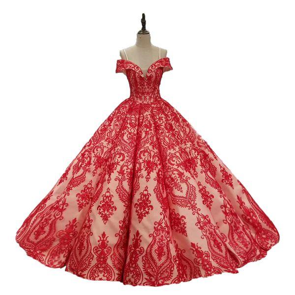 2018 Vestido De Noiva Floor Length Lace Up Off Shoulder Elegant Bridal Gowns Red Lace Ball Gowns Wedding Dresses Amazing Bridal