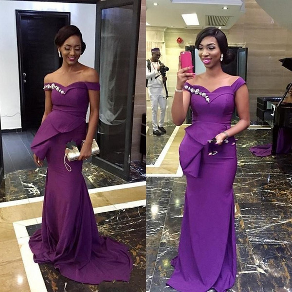 2019 African Purple Mermaid Bridesmaid Dresses Off Shoulder Peplum Sweep Train Appliques Garden Country Wedding Guest Maid Of Honor Dress