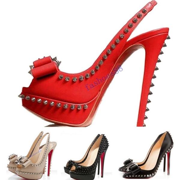 2020 sıcak Orijinal Logo} Moda Perçinler Balık Ağız Lüks Tasarımcı Kırmızı Dikenler Sivri Alt Bottoms Yüksek topuk Kadınlar Elbise Ayakkabı boyutu 35-45