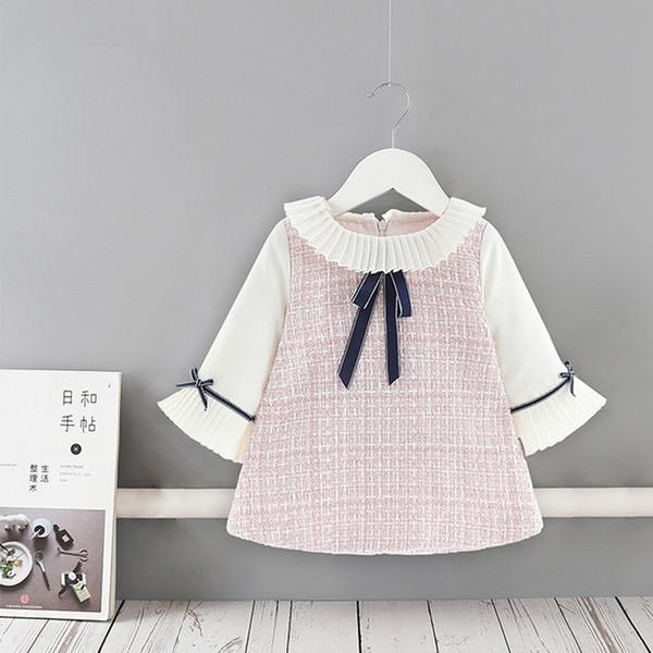 Moda Sonbahar Uzun Kollu Bow Prenses klasik süslemek Kız Bebek Çocuk Çocuk 2019 Triko fırfır Parti Elbise vestidos WT936