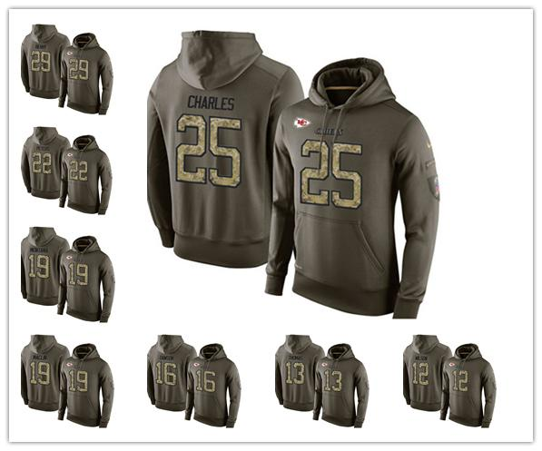 san francisco 70649 64692 Kansas City Fleece Chiefs Olive Salute To Service KO Performance Football  Hoodie 15 Patrick Mahomes II 14 Sammy Watkins 10 Tyreek Hill Online Tshirt  ...