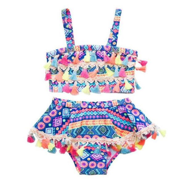 top popular Baby Girl Swimwear Bohemia Tassel Swimsuit 2PCS Sets Children Bathing Suit Geometric Girls Bikinis Swim Clothes Summer Kids Clothing BY0822 2021