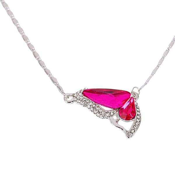 Women Antique Butterfly Shape Pendant with Rhinestone Necklace